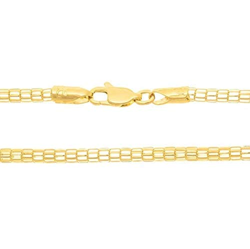 Corrente Masculina Rommanel Banhado Ouro Fio Tela Cilíndrico 60 CM 531133