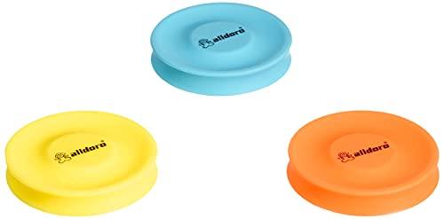 alldoro 63057-3er Mix Set Mini Disc Wurfscheibe Neon, Scheibe Ø ca. 6,5 cm aus Soft Silikon, Pocket Discs, Wurfspiel bis zu 60 Meter Reichweite, für Kinder, Erwachsene & Hunde, Gelb, Orange & Blau