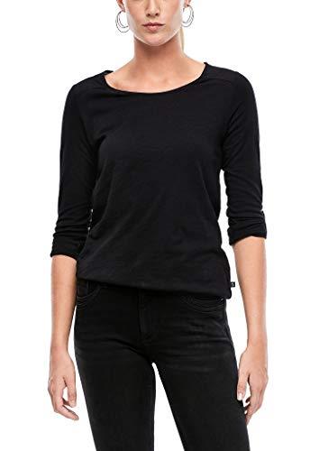 Q/S designed by - s.Oliver Damen Jerseyshirt mit gewebtem Insert black XXL