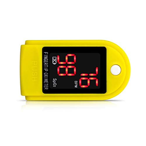 Pulsoximeter Portable vingertop bloed zuurstof saturatie Monitor LED OLED digitale display SpO2 PR One-click Measurement voor Home Reizen Sport Fitness,Yellow