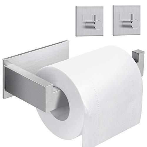 synmixx Toilettenpapierhalter ohne bohren Klopapierhalter Edelstahl mit 2 Stück Haken Selbstklebende, Handtuchhaken, Wasserfest WC Papierhalter ideal für Badezimmer und Küche