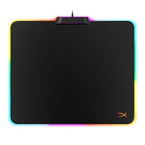 HyperX HX-MPFU-M FURY Ultra - Tappetino per mouse da gaming, illuminazione RGB a 360°, 20 zone LED RGB, superficie rigida a basso attrito, base in gomma antiscivolo, medio