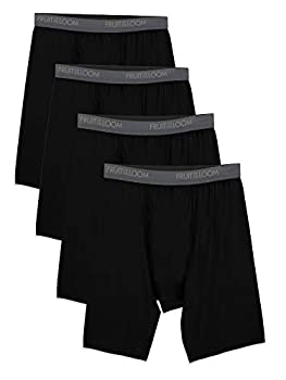 Fruit of the Loom Men s Microfiber Boxer Briefs  Size XXL  Long Leg-4 Pack-Black XX-Large