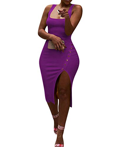 Salimdy Womens Sexy Soild Sleeveless Strap Tank Ribbed Buttons Side Split Bodycon Irregular Long Pencil Midi Dress Purple L