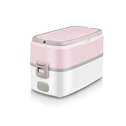 JINSE Elektrische lunchbox, elektrische verwarming, lunchbox, plug-in isolatie, voor kantoormedewerkers, kleine lunchbox, met rijstkoker, koken, hete rijst kunst 1 persoon 2 Large roze