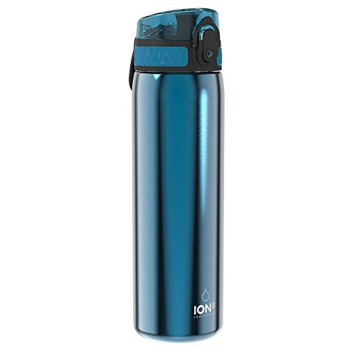 Ion8 Leak Proof Slim Water Bottle, Stainless Steel, 600ml (20oz), Blue