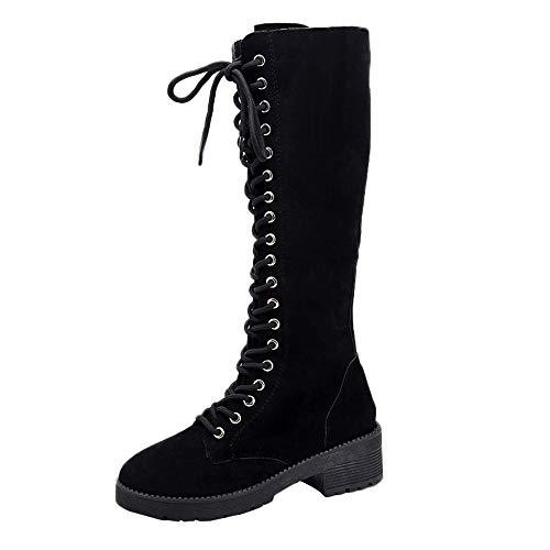 S&H-NEEDRA Damen Retro Wildleder Flache Schuhe Round Toe Lace-up Lange Röhre Ritter Stiefel