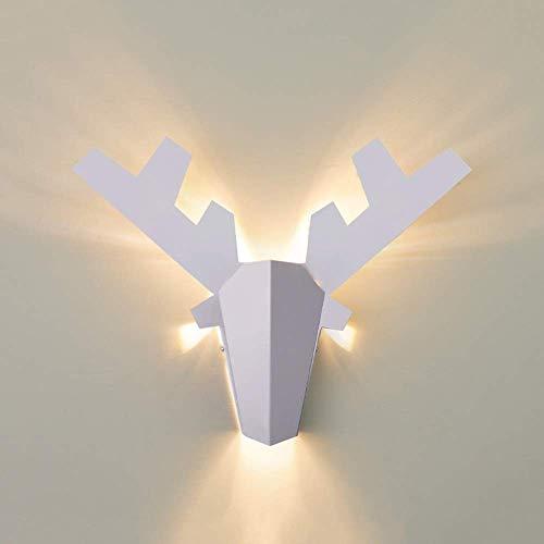 LLLKKK Lámpara de pared de hierro forjado blanco nórdico lámpara de pared moderna minimalista creativa luz decorativa tricolor brillante dormitorio de noche dormitorio dormitorio restaurante Speist