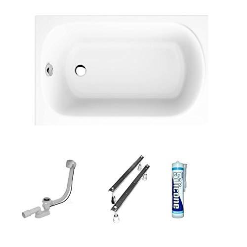 ECOLAM Badewanne Mini kleine Wanne Rechteck Acryl weiß 100x65 cm + Ablaufgarnitur Ab- und Überlauf Automatik Füße Silikon