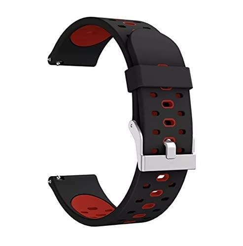 Pulsera de silicona para Xiaomi Amazfit Gts Bip Gtr, correa de muñeca de 42mm para reloj inteligente Xiaomi Amazfit GTS 2 BipS para Garmin Vivoactive3 (Negro/Rojo)