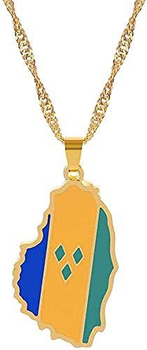 Collar Mujer Collar Hombre Collar Color doradoMapa deSanVicente Collares pendientes Cadena Mujeres / Niñas Amantes S Compromiso Mapas de Vincent Antillas Menores Joyería Regalos Presente Niñas Ni