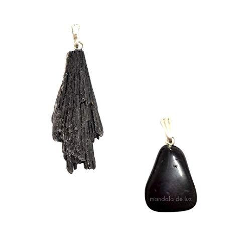 Kit 2 Pingentes Proteção e Limpeza: Pedra Cianita Negra/Vassoura de Bruxa e Turmalina Negra