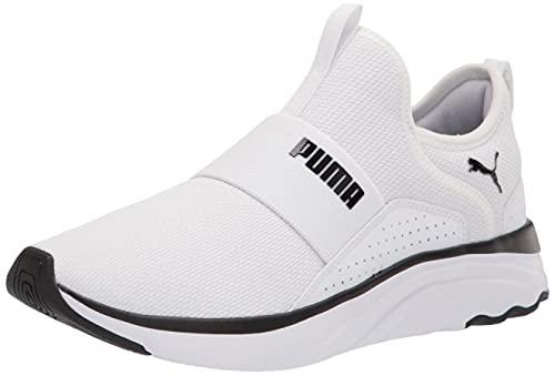 PUMA Women's Softride Sophia Slip On Running Shoe, White Black, 7.5