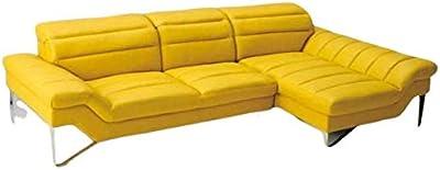 Home Plus Lifestyle Cosmo Plus Fabric L Shape Acacia Wood Sofa - 3 Seater + 2 Seater + 1 Corner Sofa (Colour-Yellow)