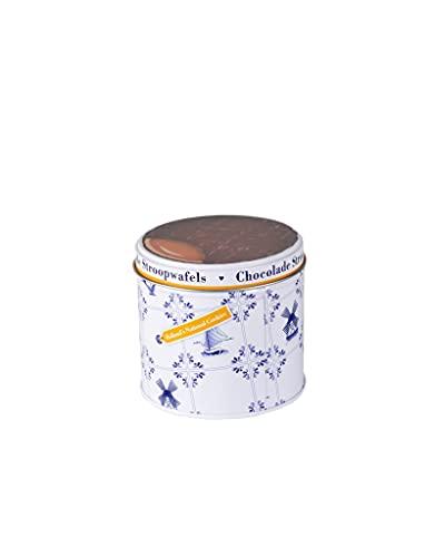 Max & Alex Chocolade Stroopwafels in Delfts Blauw Blik 270 gram pakje Inclusief 6 Stroopwafels met Karamel Vulling en…
