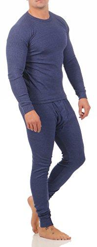 2-Teilig Herren Thermo Unterwäsche Ski Set Herren Langarm Shirt Hose CL 4036 (9/ 3XL, Blau)