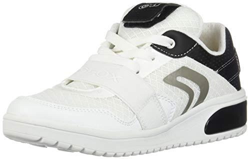 Geox XLED Boy J927QB Jungen High-Top Sneaker,Kinder LED Licht Text,Schnürung,Sportschuh,Mid Cut Sneaker,White/Black,38