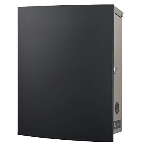 LEON (レオン) MB4504ネオ 郵便ポスト 壁掛けタイプ ステンレス製 鍵付き おしゃれ 大型 ポスト 郵便受け (マグネット付き MAIL BOXシート無し) ブラック