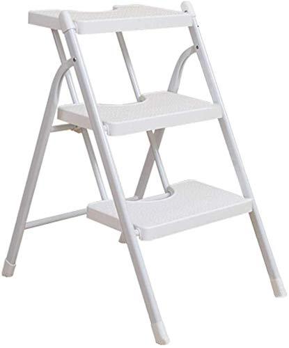 DNSJB - Taburete de escalón para el hogar, 3 pasos, práctico taburete plegable para escalar, taburete de cocina (color: blanco)