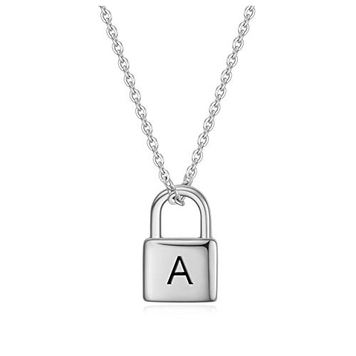 BBX JEWELRY 18K Gold Plated Custom Initial Name Engravable Padlock Necklace Letter Necklaces with Adjustable Chain Charm Gift for Women Bridesmaid