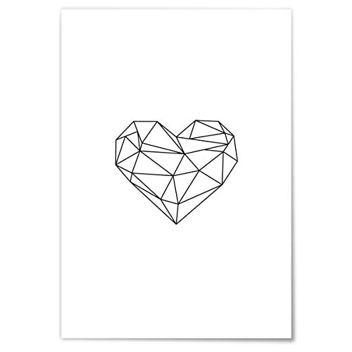 JUNIWORDS Poster mit/ohne Holzrahmen - Origami Herz Outline - Wähle eine Größe - 21 x 30 cm (S) ohne Rahmen