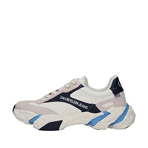 Calvin Klein Solaris Low Top Lace Up - Zapatillas deportivas para hombre B4S0667 101 Bright White Navy Blanco Size: 41 EU