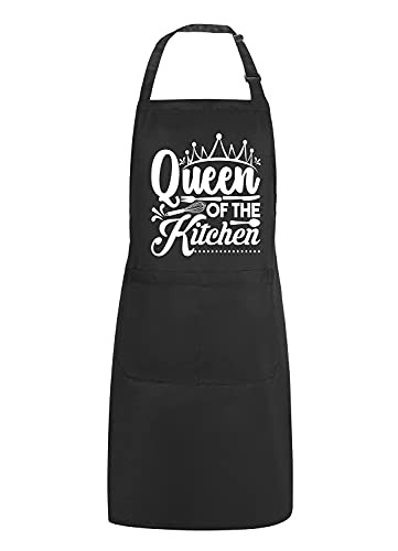 POTALKFREEFunny Aprons for Women with 2 Pockets, Queen of The Kitchen, Adjustable Bib Water Resistant Cooking Chef Apron, Gifts for Mom, Wife, Friends