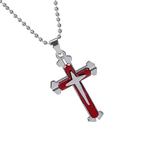 Yowablo Anhänger Halskette Kette Unisex Männer Edelstahl Kreuz (Rot)