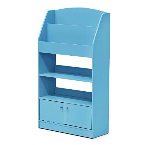 FURINNO KidKanac Magazine/Bookshelf with Toy Storage Cabinet, Light Blue