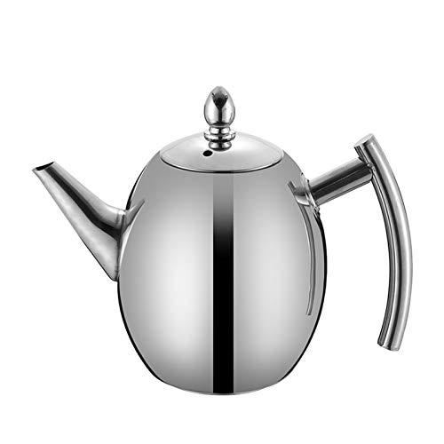 Pote de café de la Olla de té de Acero Inoxidable Filtro del Hotel Restaurante Inducción Cocina té tetal Agua Olla 1l / 1.5L (Color : Silver, Size : 1L)
