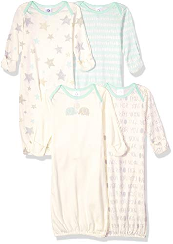 Gerber Baby 4-Pack Gown, Elephants, 0-6 Months