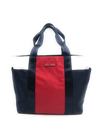 Tommy Hilfiger Tasche - Blau/Rot/Weiss - 50x30x15cm - Große Schultertasche - Sporttasche - Weekender - Dufflebag -TH Logo - 1851