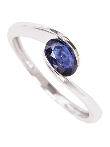 Saphir Ring Weissgold 585 Gold (14 Karat) Geschwungen Mit Edelstein Safir 7mm Gr.50 Weißgoldring Goldring Damenring Saphirring White Stardust V0011630