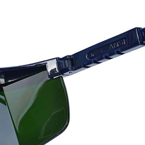 Mufly Schweißerbrille Schweißer Sicherheitsbrillen,klappbar,Anti-Flog,Anti-Shock,Blendschutz,Schutzgläser für Schweißer mit transparenter und schwarzer Brille(IR5.0) - 10