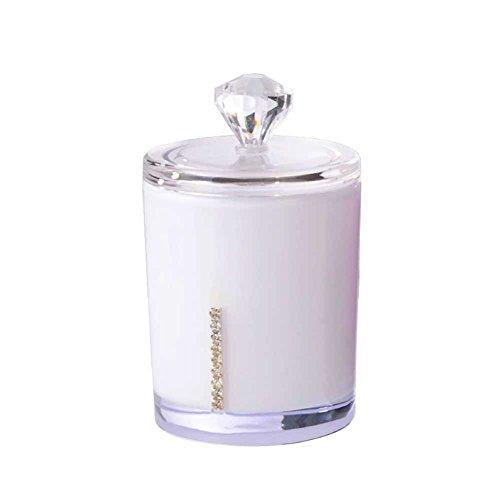 Toruiwa Boîte à Conton Tige en Acrylique Boîte de Rangement pour Coton-tiges Cure-dents Tampon (Blanc)