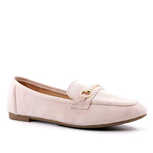 Angkorly - Zapatillas Moda Mocasín BCBG Elegante - Chic Slippers Mujer Joyas...