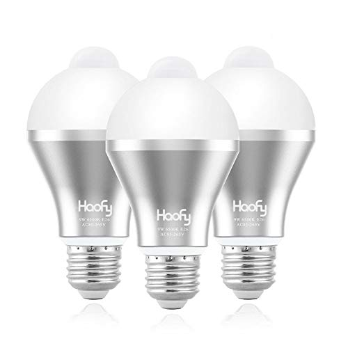 Motion Sensor Light Bulb,Haofy 9W Smart Motion Activated PIR LED Bulbs Automatic On/Off Security Lights Lamp for Stairs Front Door Hallway Yard Garage Basement (E26/E27, 600lumen,Cool White,3 Pack)