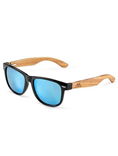 GREENTREEN Herren und Damen Polarisierte Sonnenbrille mit Holzbügeln, UV-Schutz (Hellblau)