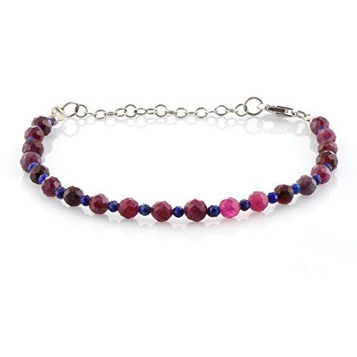 Pulsera de cuentas de piedra preciosa rosa turmalina lapislázuli con cierre de plata de ley, regalo de cumpleaños para su joyería de piedras preciosas