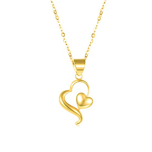 14k Yellow Gold Heart Necklace for Women, Real Gold Love Jewelry for Her, Anniversary Present for...