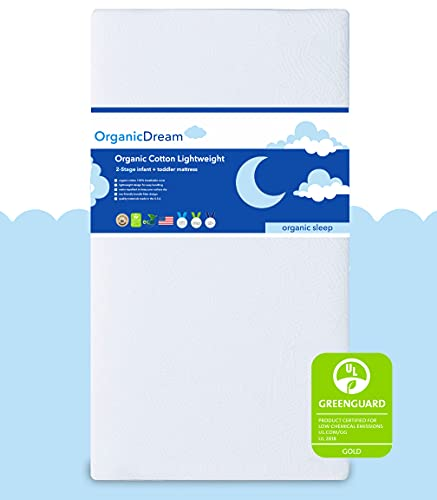 Organic Dream Crib and Toddler Mattress - 100% Breathable Proven to Reduce Suffocation Risk, 100% Washable Cover, Baby + Toddler Bed, GREENGUARD...