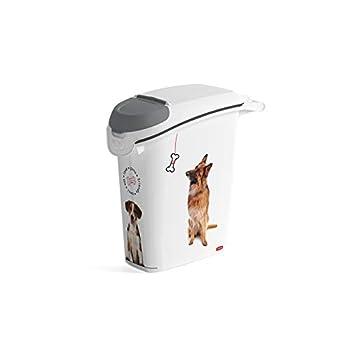 CURVER   Conteneur à croquettes empilable 23L/10Kg love pets Chien, Blanc, 23,2 x 50,3 x 49,7 cm, Plastique