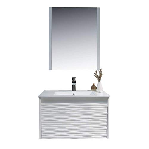 30 Inch White Bathroom Vanity with Sink, All Wood Floating Bathroom Vanity with Sink 30 Inch, Mirror