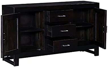 Shilpi Sheesham Wooden Pre Assemble Double Door and Drawer Cabinet (Walnut)