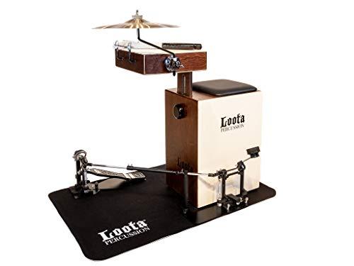 Loota Percussion aus Finnland. Einzigartiges Birkenholz Box-Drumset. Komplett-Set mit Bass-Box, Snare, Crasher, Becken, Schlagzeugbesen, Pedal und Teppich. (Kakaobohne)