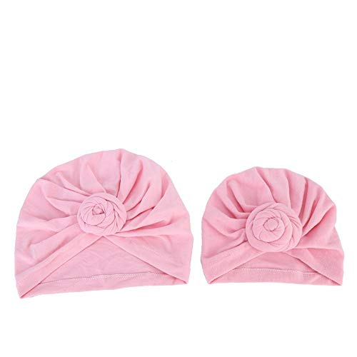 Padre e hijo Turbante, Algodón suave Bebé y Mamá Diademas Gorro Lindo Nudo Turbante Headwraps(B rosa)