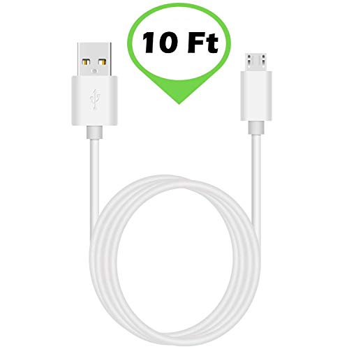 ienza 10-Ft LONG WHITE USB Charge Power Cable Cord for Amazon Kindle Echo Dot Fire Tablet with Alexa Paperwhite Oasis Fire Kids Edition HD Kids Edition Fire TV Stick All New Fire TV Pendant & More