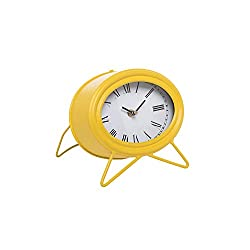 Foreside Home and Garden Foreside Home & Garden Yellow Metal Battery-Operated Oval Tabletop Clock
