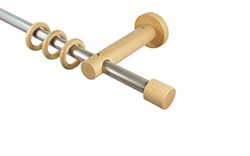 Gardinenstangen 16 mm aus Metall und Holz Alu/Buche Endstück Kappe, 160 cm