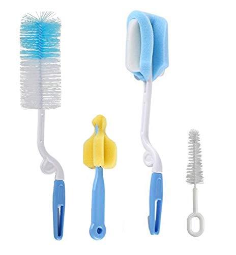 SYGA Baby Milk Bottle Nipple Straw Brush Sponge Nylon Cleaning Brush Cleaner Bottle Tong Set (Color May Vary) (4 Pcs)